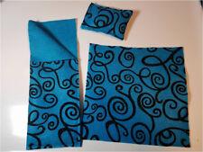 "12"" Doll Accessories Teal Black Spirals Sleeping Bag Pillow Area Rug 3 Piece Set"