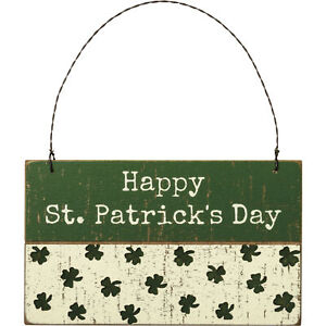 PBK St Patrick Decor - Happy St. Patricks Day Wood Small Sign Ornament