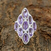Natural Amethyst Ring - 925 Sterling Silver Handmade Ring Size 8