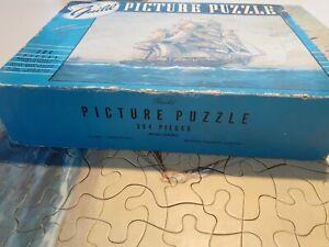 Vintage 1950s Guild Picture Puzzle 304 Pieces – Full Sails – Complete