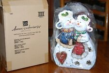 Home Interiors Metal Snowmen Votive Candle Holder Lantern Nib