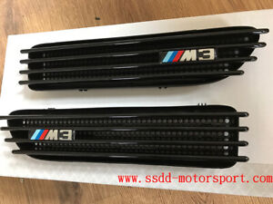 BMW E46 M3 Gloss Black Side Vents Grilles with Badges UK Stock Fast Despatch