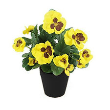 Best Artificial 30cm Pansy Flower Plug Bedding Plant Bunch - Pot NOT Included