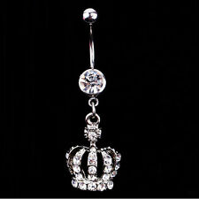 Fashion Crown Crystal Rhinestone Piercing Body Jewelry Navel Belly Button Ring