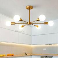 Modern Sputnik Branching Chandelier Ceiling Light Brass Fixtures Decor 6 Lights