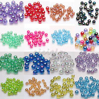 50/100Pcs Acrylic Round Plated AB Loose Spacer Beads Crafts Jewelry Findings DIY