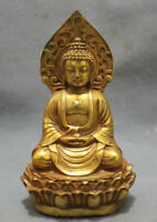 Collect gold-plated bronze pray bless shakyamuni Buddha statue in Tibet 5.5inch