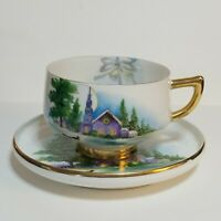 Vintage Chubu China Tea Cup Saucer Set Cherry Exclusive Church Sleigh Hand Paint