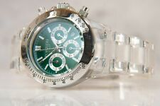 Forzieri Italy Quartz Chronograph Watch, Green Dial, Clear Lucite, Date Window