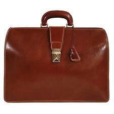 Floto Ciabatta Italian Leather Lawyers Briefcase, Business Bag w/Key Lock Brown