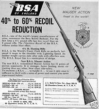 1957 small Print Ad JL Galef & Son BSA World's Finest Field Rifle Mauser Action