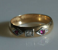 Beautiful Vintage Solid Yellow Gold Ring with Diamond and Two Rubies Size 6.25