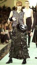 Auth. CHANEL Runway '01A Black Calfskin Leather Layered Ruffles Maxi Skirt sz 38