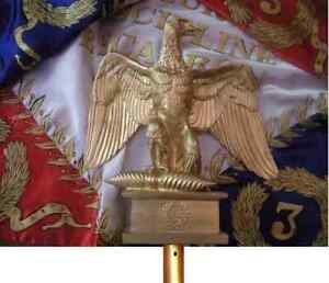 napoléon 1er empire aigle de drapeau résine avec embout métal, taille réelle,