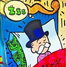 "Alec Monopoly OIL PAINTING ON CANVAS Urban art wall decor Sleeping Idea 24x24"""