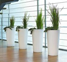 4 Stück hohe Blumentöpfe mit Einsatz weiß Euro3Plast Tuit Übertopf Vasen Kübel