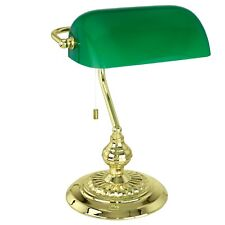Eglo 90967 Banker Single Table Lamp Stainless Steel/Brass/Coated Glass/Green