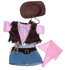 """Cowgirl w/Brown Hat and Pink Scarf Teddy Bear Clothes Fits Most 14""""-18"""" Build-A-"""