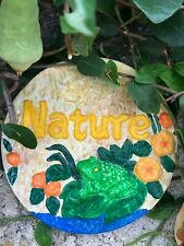 Handcrafted wall plaque/frog/nature/flower s/indoor/outdoors/hanging/ garden decor