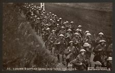WW1. London Scottish Going Into Trenches - Daily Mail Battle Pictures Postcard