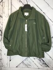 NWT Lacoste Mens Lightweight Hideaway Hooded Jacket Safari Green 58/3XL MSRP$185