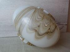 1 ancien globe opaline blanc marbré suspension plafonnier lustre lampe 1970