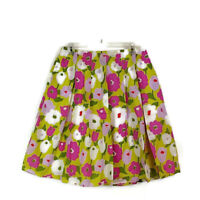 Liz Claiborne Womens sz 10 Skirt Green Floral Aline Pleated Knee Length Zip