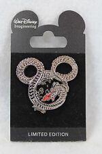 Disney Wdi Mickey Mouse Head Icon Fire Breathing Dragon Shiny Silver Metal Pin