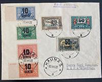 1922 Kaunas Lithuania Early Early Airmail Cover To Libau Latvia Sc#C21-C26