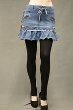 Women Sexy Denim Short Mini Skirt  4-16  NWT Elastic W/B Med Indio wash PS-3007