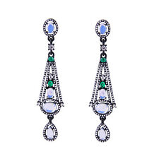 Boucles d`Oreilles Clous Argenté Noir Chandelier Opale Vert Retro Mariage XX15