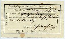 JOURNAL POLITIQUE ET LITTERAIRE DE MAINE ET LOIRE / RECU / 1815 / ANGERS
