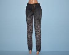 Stonewashed Charcoal Gray Denim Jeans Pants w Gold Thread Genuine BARBIE Fashion