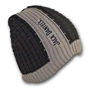 Jack Daniels Ribbed Black Gray Winter Knit Beanie Hat Black