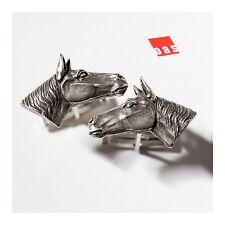 Solid Sterling Silver Stallion Horse Cufflinks  - Onesilversmioth Art Studio