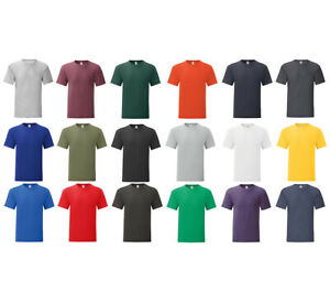 Herren T-Shirt Slim Fit Kurzarm T-Shirt Baumwolle Rundhals Uni Fruit of the Loom