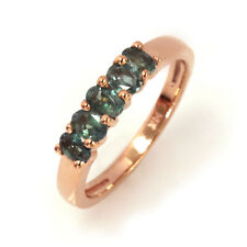 0.6 ctw Natural Real Color Change Alexandrite Solid 14k Rose Gold 5 Stone Ring