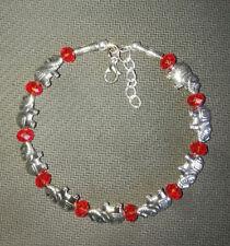 Ladies Bangle Tibetan Silver Elephant Red Crystal Bead Bracelet Jewelry