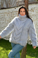 10 Strands Hand Knitted Mohair Sweater Grey Fuzzy T-neck Pullover EXTRAVAGANTZA