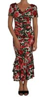DOLCE & GABBANA Dress Silk Stretch Red Roses Sheath Gown IT42/ US8 /M RRP $3800