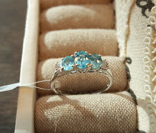 Stunning AA Paraibe Apatite & Diamond ring in  Platinum over Sterling Silver 'Q'