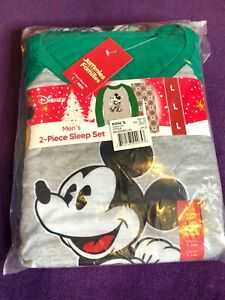 Disney Men's Mickey Mouse 2 Piece Sleep Set Holidays Size L Large 50$