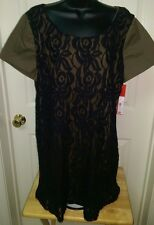 French Connection NWT Womens Olive/Black Floral Lace Dress Size 16