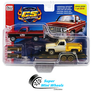 Auto World 1:64 - 1975 & 1974 Chevy Pickups (Red/Yellow) w/ Flat Bed Trailer