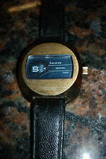1970S LUCERNE DIGITAL TV FACE SWISS MENS WIND UP JUMP HOUR WATCH,GOLD TONE