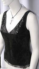 ANNE KLEIN $295 Black Sequin Netting Tank Top NEW sz 6