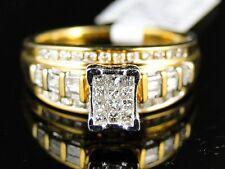 WOMEN PRINCESS CUT YELLOW GOLD FINISH DIAMOND ENGAGEMENT WEDDING BAND RING 1/2CT