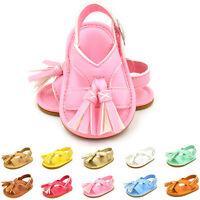Toddler Baby Boy Girl Tassel Crib Shoes Leather Soft Sandals Non-Slip Prewalkers