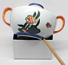 Fishy Ceramic Sugar Bowl Perky Marigold Cobalt Blue Nibbled FREE SHIP!