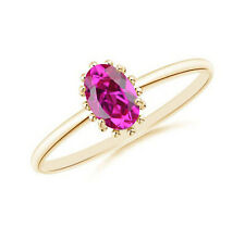 14KT Yellow Gold Natural Pink Tourmaline 1.50Ct Oval Shape Solitaire Ring